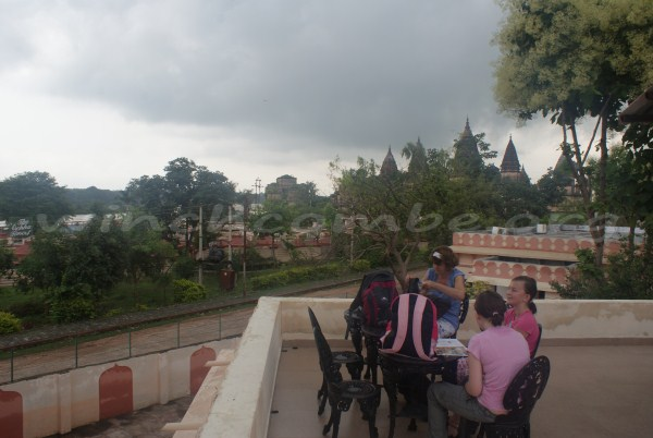 The terrace at the Betwa Retreat, under a darkening monsoon sky