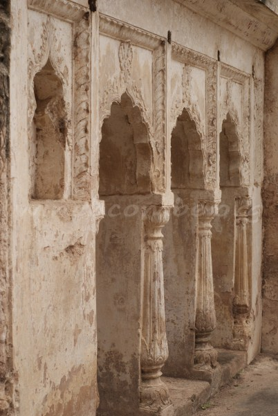 Pillars in Orchha's Sheesh Mahal