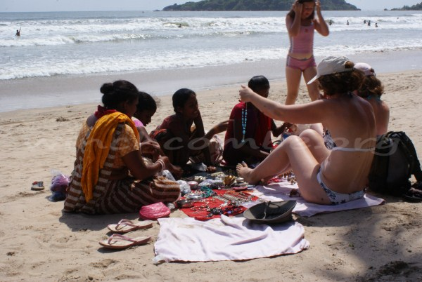 Buying from the 'shops' on the beach