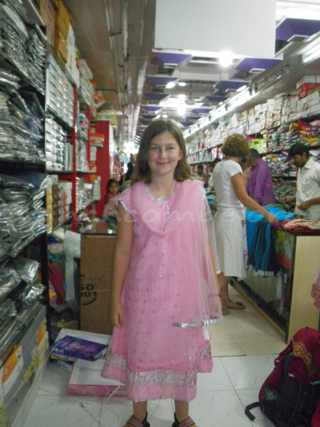 Amy trying on her Salwar Kameez